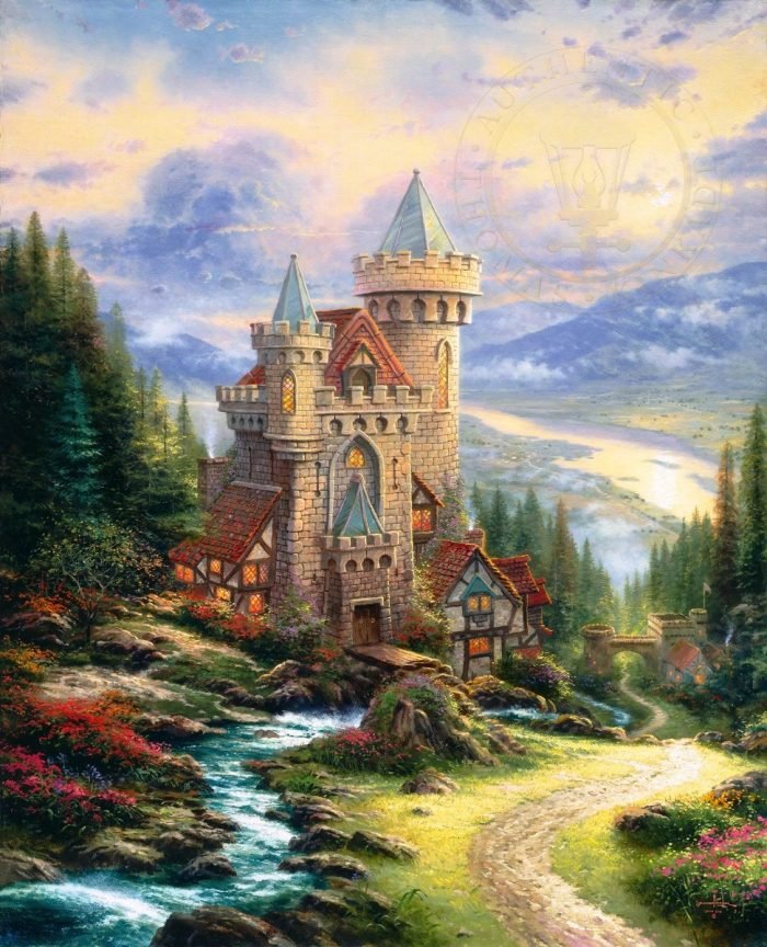 Thomas Kinkade Guardian Castle Canvas Painting